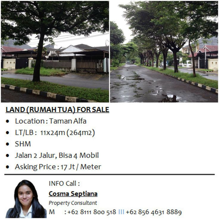 LAND (RUMAH TUA) FOR SALE - Location : Taman Alfa - LT/LB :  11x24m (264m2) - SHM - Jalan 2 Jalur, Bisa 4 Mobil - Asking Price : 17 Jt / Meter  Info : Cosma Septiana 08111 800 518