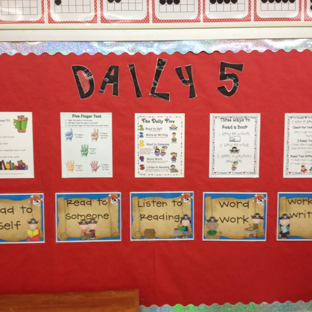 My pirate themed daily 5 board in my first grade classroom. Ipick poster, five finger poster, all components of daily 5, how to read to self and someone.  I will add stamina graphs below as we begin this year.
