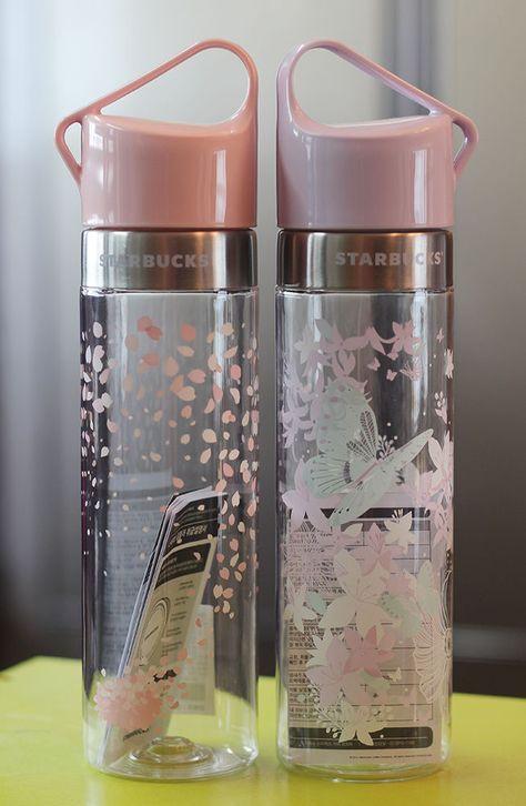 8d4bead10b Korea Starbucks 2016 Cherry blossom Spring Butterfly Clay water bottle  591ml SET #Starbucks