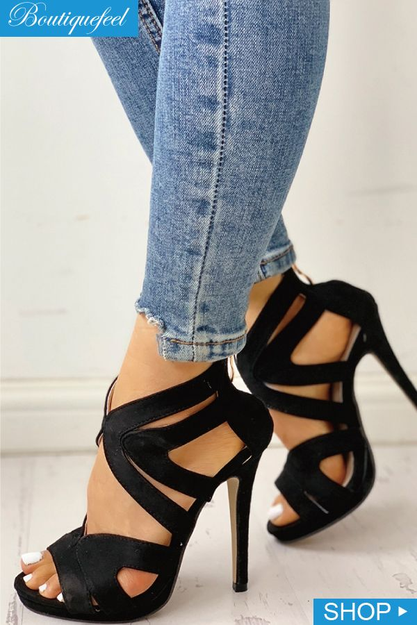 64894b5bbe90a 2019 的 Hollow Out Thin Heeled Sandals | Shoes 主题 | Shoes、Shoe ...