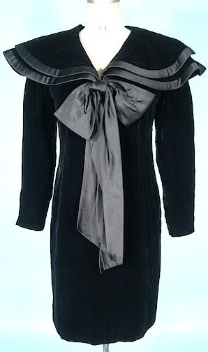 Black dress with large bow by Jacqueline de Ribes, 1980s