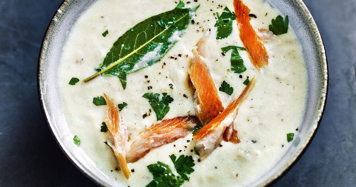 Theo Randall's take on traditional Cullen Skink soup replaces the usual smoked haddock with sweeter kipper. A creamy, warming soup for a cold winter's day.