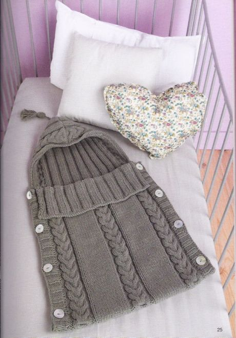 Cabeled sleep sack for babies, free pattern (in Dutch though) Trappelzak-Gratis Patroontje .