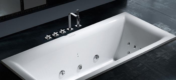 example of floor level bath and taps