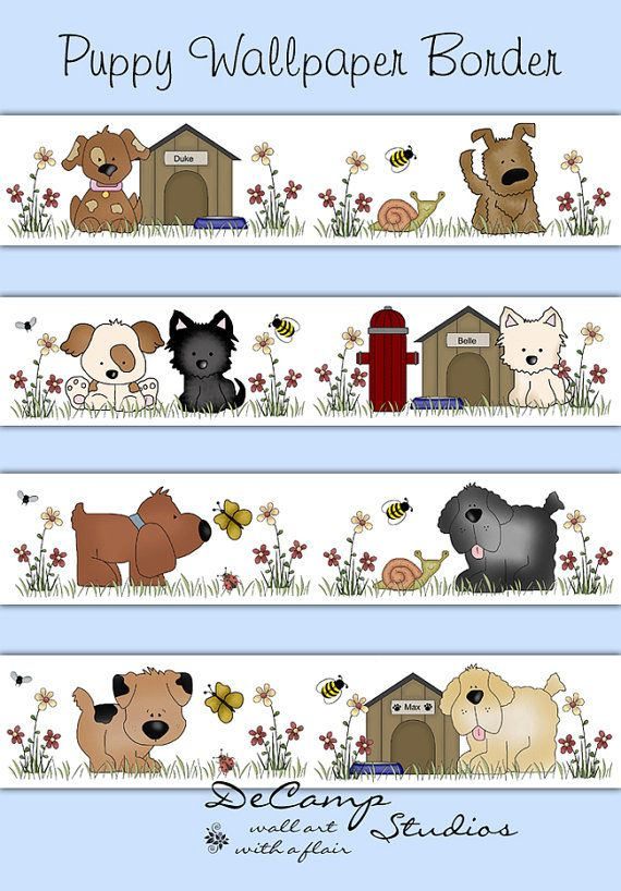 puppy wallpaper border wall decals baby boy girl nursery decor childrens dog bedroom kids puppies room house cute animals bee art stickers