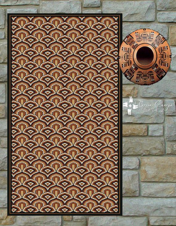 ✄ PATRON PUNTO CRUZ  Alfombra Etnica II  Para bordar con Lanas Gruesas.  160 puntos de ancho  370 puntos de largo.  Medidas aprox. si se borda en esterilla gruesa y lanas gruesas:   66,5 cm de ancho  1,54 Mt de largo  Utiliza 7 colores .