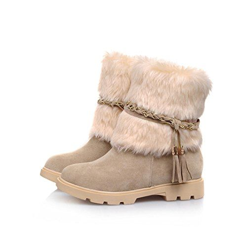 Simple stylish and waterproof Mostrin's winter snow boots protect you against the elements while looking cute. The faux-fur snow collar plays up the waterproof nubuck leather upper for a trendy loo...