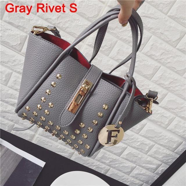dbe2ae417df Fashion Women Messenger Bags Design PU Leather Handbag and Purse Litchi  Rivet Ladies Shoulder Bag Trapeze