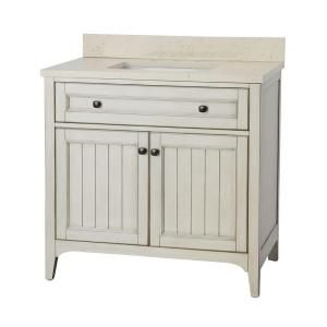 Klein 37 in. Vanity in Antique White with Quartz Vanity Top in Beige and Basin KLWVT3722D at The Home Depot - Mobile