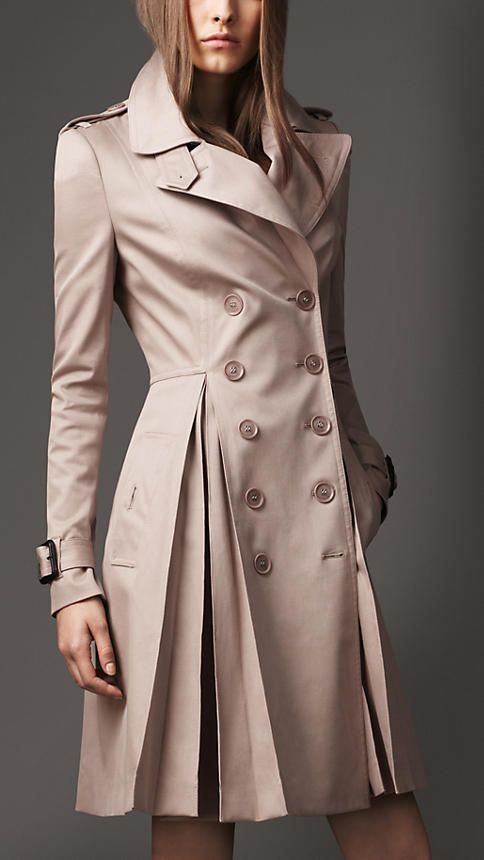 Burberry London Long Full Skirt Stretch-Cotton Trench Coat