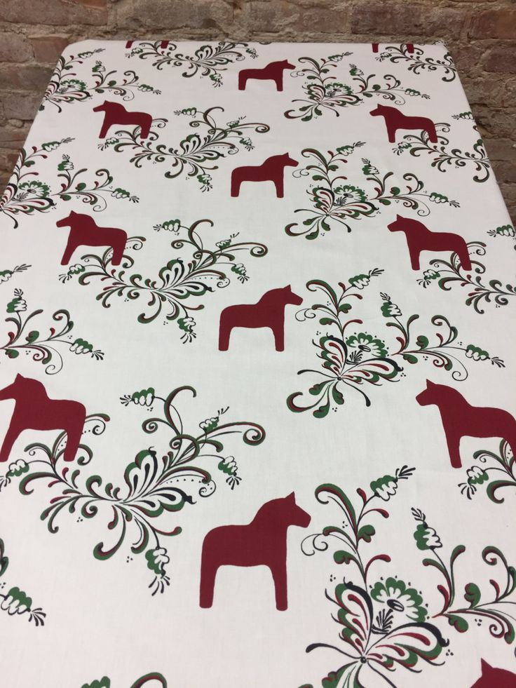 Tablecloth white with red  Swedish Dala Horses, Scandinavian design, Scandinavian table, Christmas gift by SiKriDream on Etsy