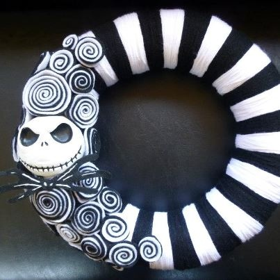Jack Skellington The Nightmare Before Christmas wreath by HalloQween Creations (Michele Kossivas, original designer and creator of this style wreath) on Facebook and Etsy. :)