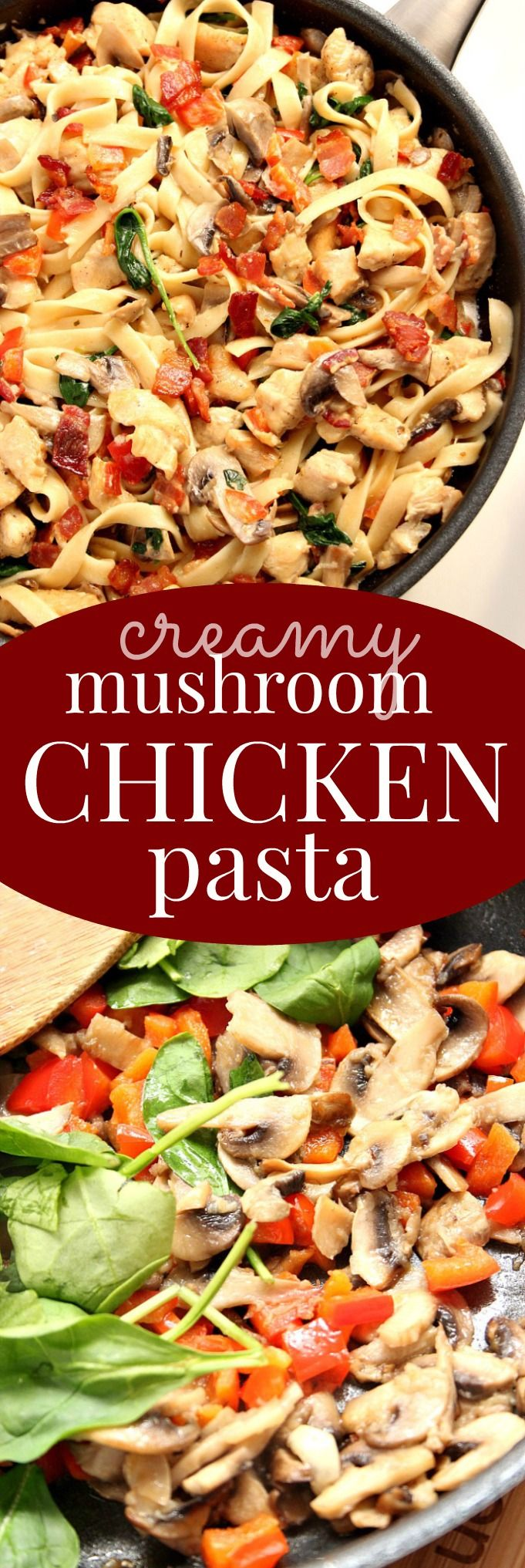 Creamy Mushroom Chicken Pasta Recipe - restaurant style pasta dish made in 30-minutes! Bacon, chicken, mushrooms, red pepper and spinach with fettuccine and tossed in garlic cream sauce. Pure comfort food for even a busy weeknight!