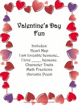 In this packet the students create a heart map, write from two writing prompts, find character traits of someone, find fractions and write an acrostic poem. Created to cover a few basic components while having fun for the holiday. I always use fun packets on holidays for the students to complete.