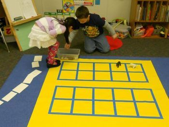 We have been working on making teen numbers using a large 20 frame.  The size of the frame made it fun for whole group and center instruction.  The children have started noticing that the teens are ten plus another amount.  So, we used this printable to assess individual learning with the 20 frame.
