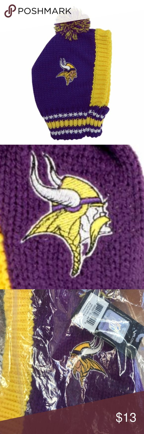 """Minnesota Vikings Pet Knit Hat Brand New Officially Licensed with tags. Transfer your Vikings passion to your pet with this official NFL Knit Hat for Pets. The logo and colors of one of the league's oldest and proudest franchises are on display on this adorable hat. Stretch scarf to hold in place, NFL embroidered logo, Pom pom on top. (LG 11"""" x 7"""") 686699839444 TX NFL Accessories Hats"""