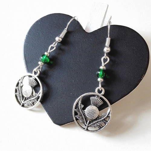 Boucles d'oreilles outlander chardon ecosse irlande claire jamie fraser highlanders
