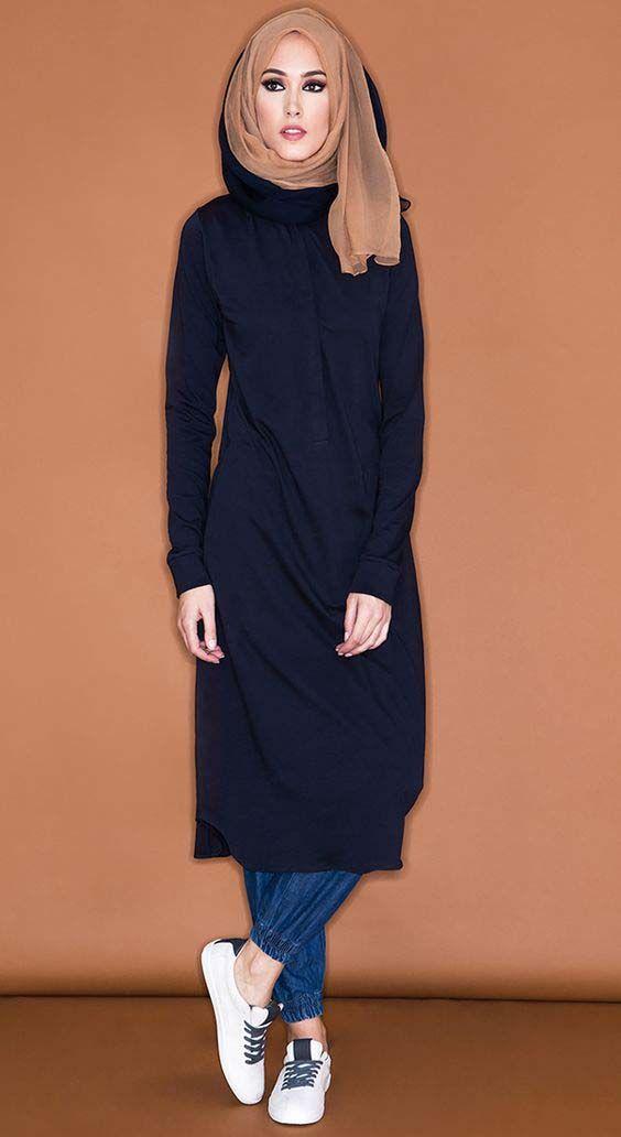 amp; Avec Longue Mode Serré Hijab Pantalons Un Tunique qFYwxd5F