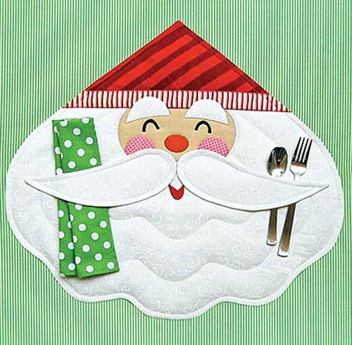 Have a very merry Christmas with Santa at your table! Stitch a cheerful Santa for your holiday place setting with this happy and festive place mat pattern.