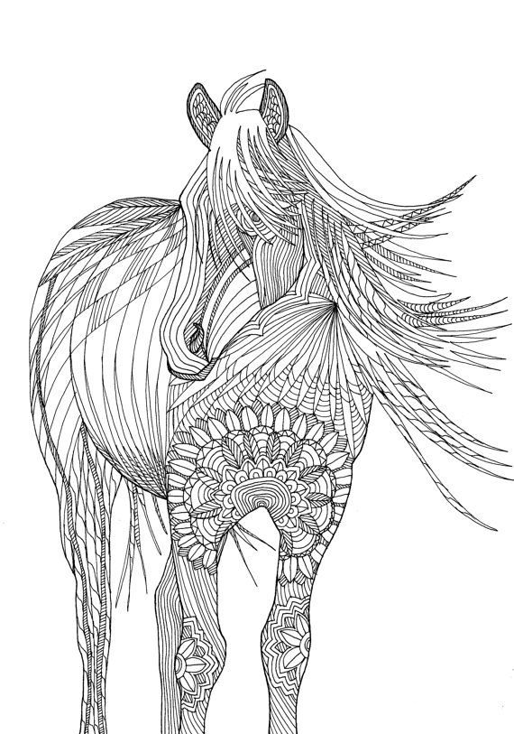 107 best e coloring pages images on pinterest horses Geometric coloring books for adults