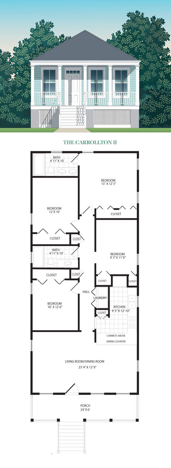 The carrollton ii build now 4 bedroom house plans for 2 bedroom shotgun house plans