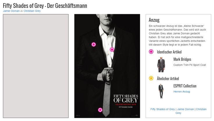 """Ein schwarzer Anzug ist das """"kleine Schwarze"""" eines jeden Geschäftsmann. Das wird sich auch Christian Grey alias Jamie Dornan gedacht haben. Er hat sich für eine maßgeschneiderte Variante eines sportlichen Jacketts entschieden. Mit diesem Style liegt er in jedem Fall richtig."""