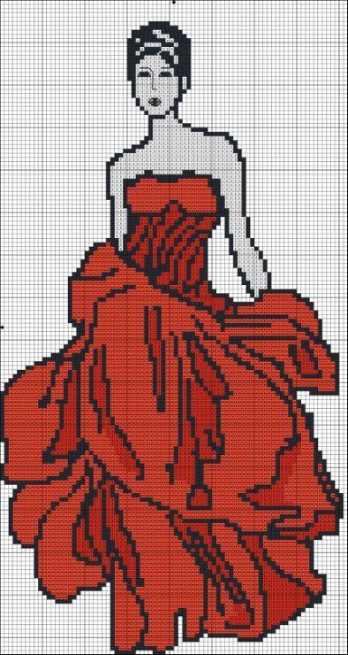 0 point de croix femme en robe de soirée rouge - cross stitch lady in red evening dress
