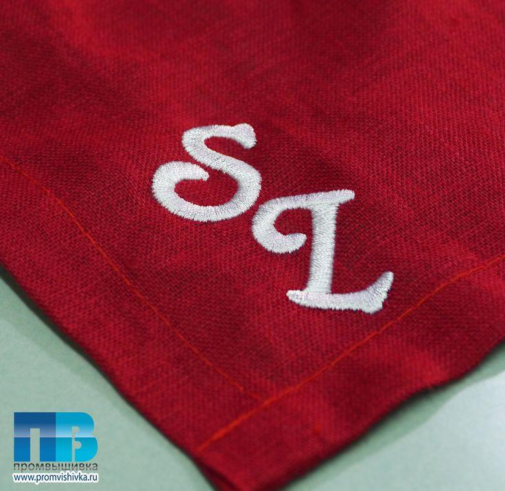 Вышивка инициалов на салфетке #embroidery