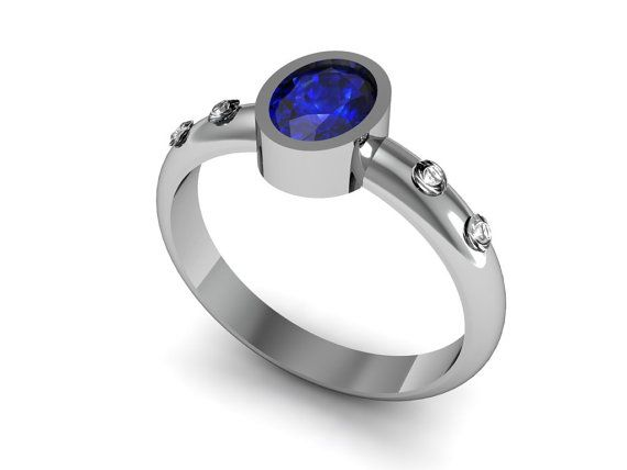 14k White Gold With Natural Blue Oval Sapphire Center Stone,Diamond Ring, White Gold Ring,Ladies Wedding Ring on Etsy, $975.99