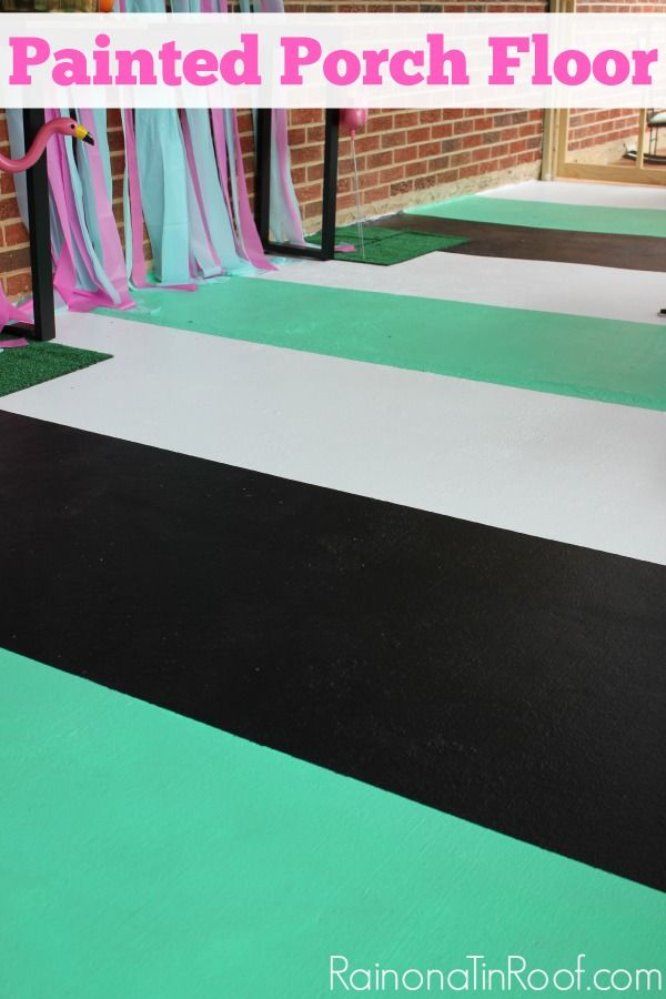 Easily dress up your porch with this simple painted porch floor. Three colors combine in wide stripes for one gorgeous impact. via RainonaTinRoof.com