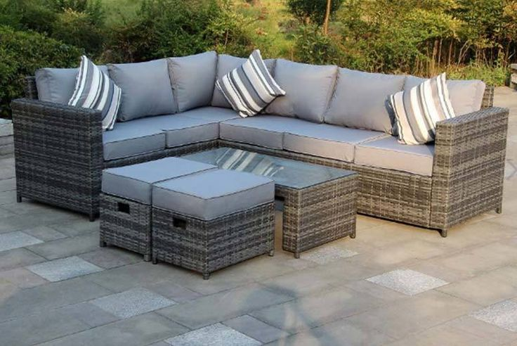 8-Seater Rattan Corner Sofa Set - 2 Colours! deal in Sheds & Garden Furniture Get an eight-seater rattan corner sofa.  Choose either grey or brown.  A cosy three-seater sofa, a three-sided sofa and two footstools.  Plus a glass topped coffee table.   Get thick, comfortable, washable cushions for added comfort.    Made with a coated metal framework. BUY NOW for just £349.00