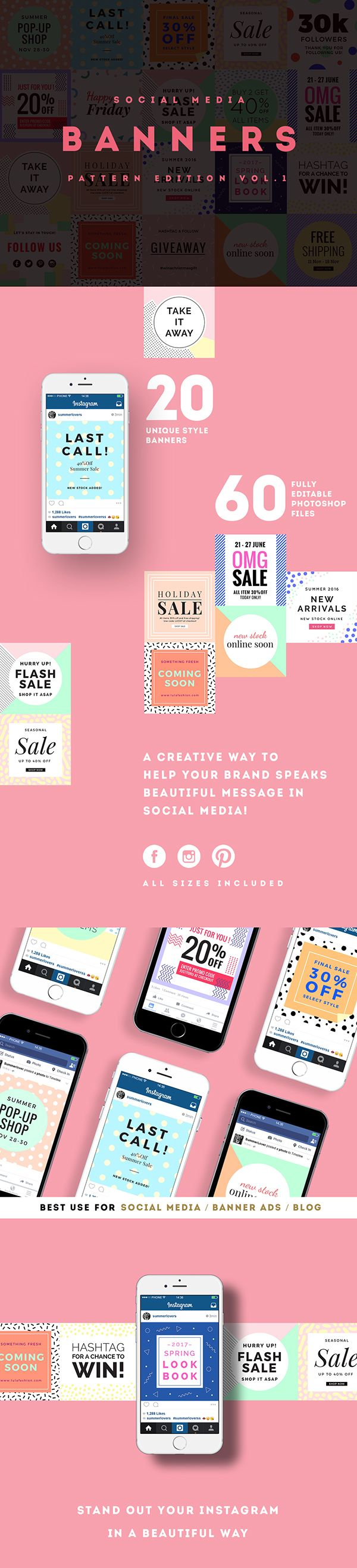 A creative way to help your brand speaks beautiful message in Social Media!Pattern edition Social Media banners pack offers 20 different unique trendy pattern designs for upgrading your online shop's social media post or sales promotion on Facebook, Ins…