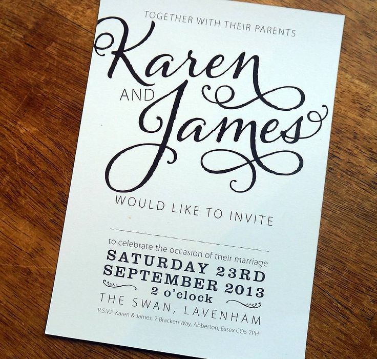 Bold Text Wedding Stationery Range