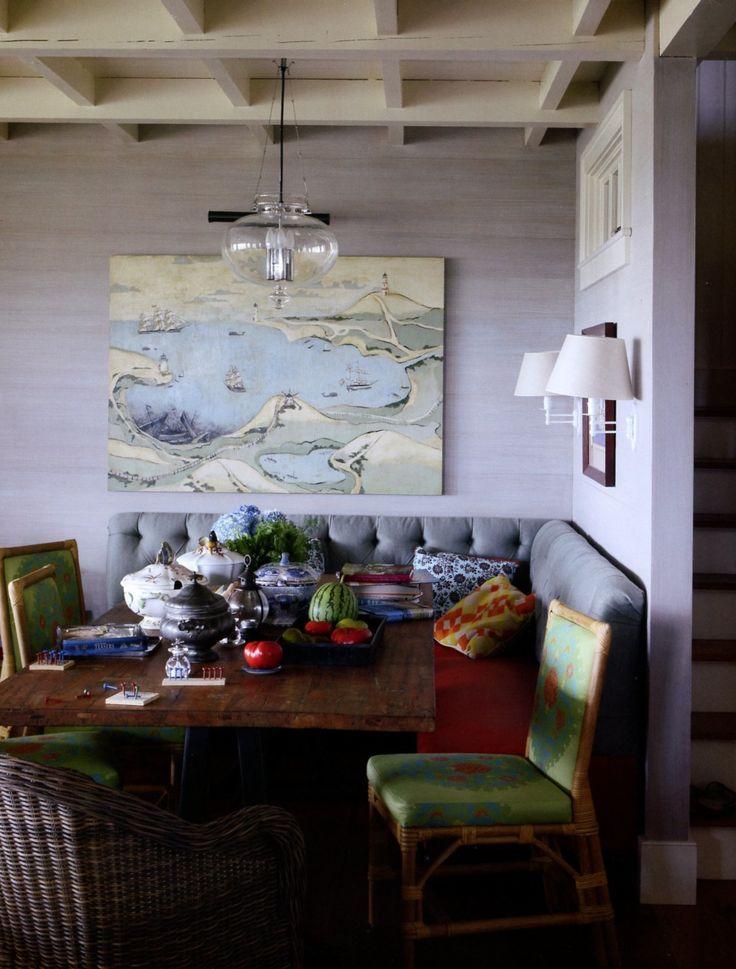 Pretty breakfast nook: Dining Rooms, Idea, Benches, Breakfast Nooks, Dining Banquette, Jeffrey Bilhuber, Diningroom, Kitchen