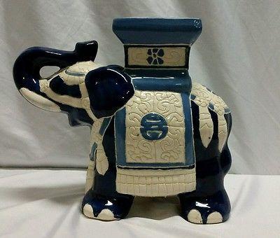 Vintage Ceramic Pottery Elephant Garden Stool Table
