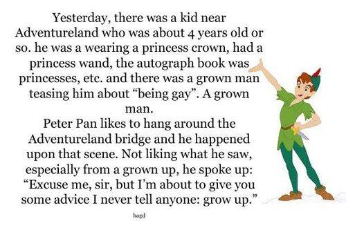 Meet Peter Pan at Disney World - Such an Inspirational Person (from a Tumblr Post)