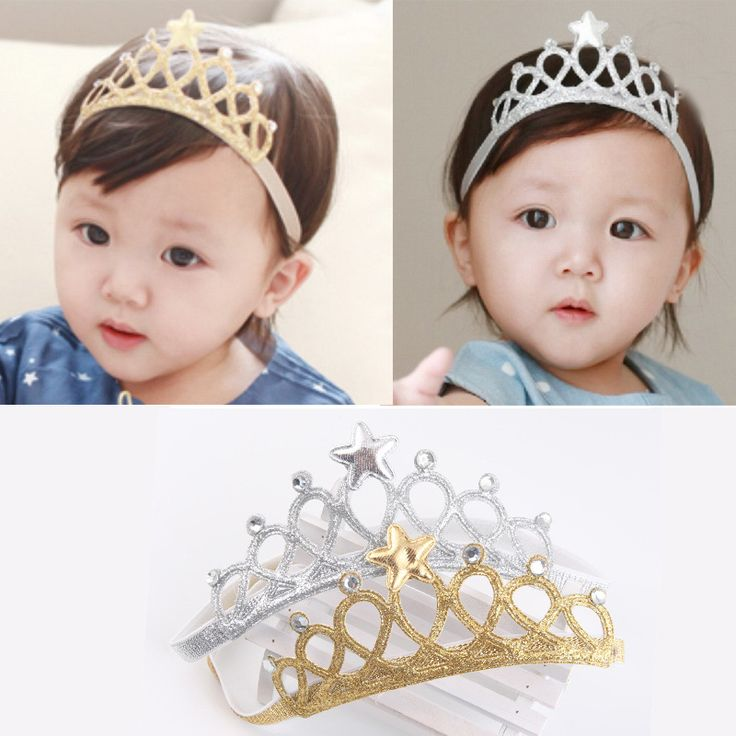 Gold Silver Star Hair Accessories Toddler Infant Newborn Kids Baby Princess Headbands Hair Band Girls Tiaras And Crowns