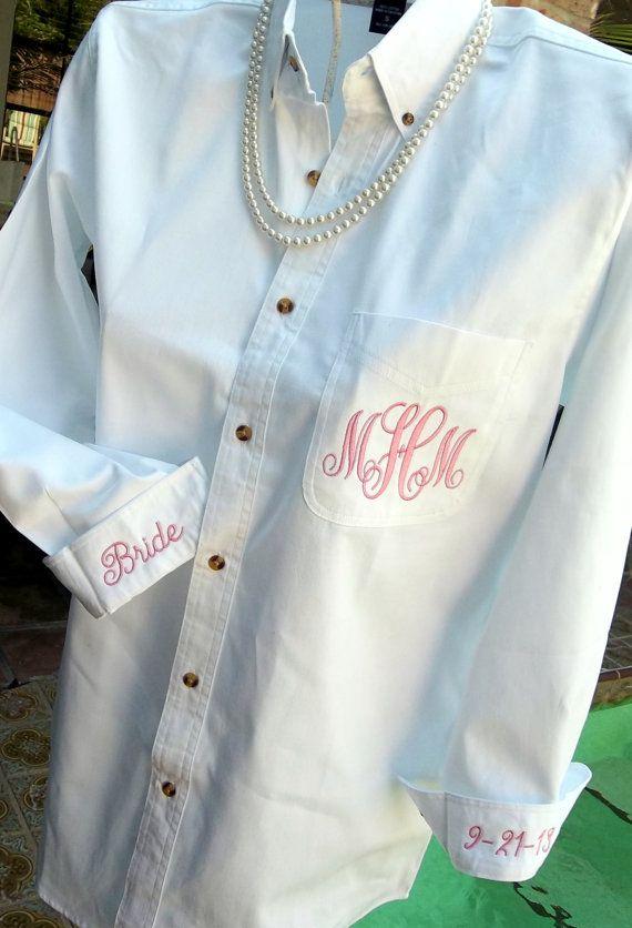 Ladies Monogrammed Big Shirt with Custom Embroidered Pocket, Bride Bridesmaids I Do Wedding Men's Button Shirt