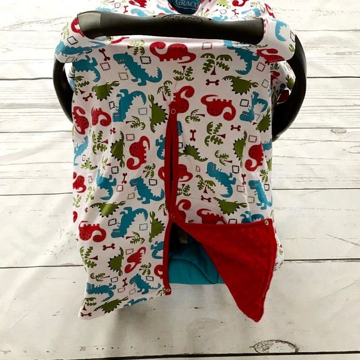 Dinosaur Minky Canopy Cover For Infant Carseat