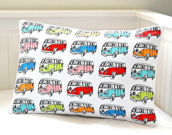 VW camper van cushion cover,  retro lumbar repurposed tea towel pillow cover 12  x 18 inch. £13.50, via Etsy.