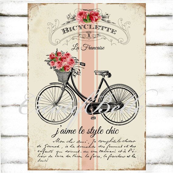 Trend Vintage French Shabby Chic Bicycle Large Instant Digital Download Printable u