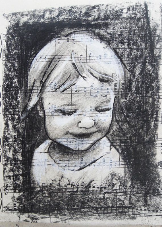 Music Child, charcoal drawing on vintage sheet music by @brandycattoor #fine #art #portrait #charcoal #drawing #unique