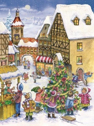 Children Decorating the Christmas Tree German Advent Calendar