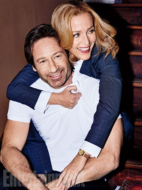 David Duchovny and Gillian Anderson goof around in these exclusive outtakes during Entertainment Weekly's cover shoot.  Photo credit: Eric Ray Davidson for EW