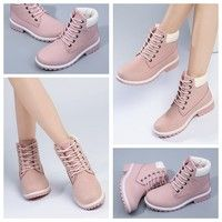 Wish   Pink Martin Boots Platform Women Ankle Boots Square Heel Flat PU Leather Boots