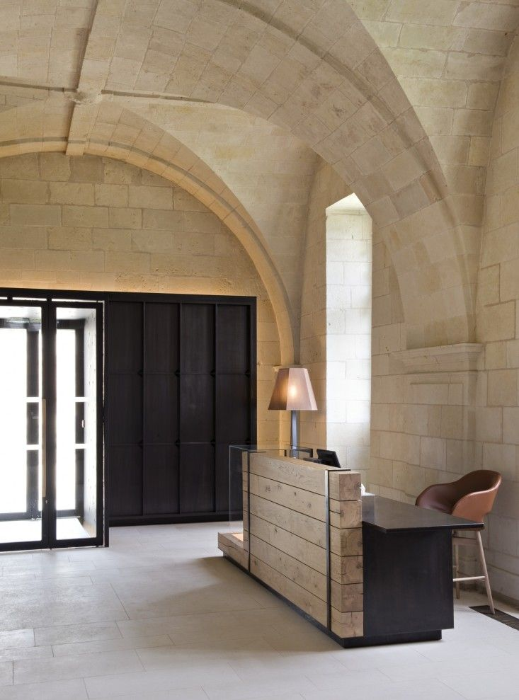 The lobby at L'Hotel Fontevraud, a new hotel in the 12th-century Fontevraud Abbey in France's Loire Valley