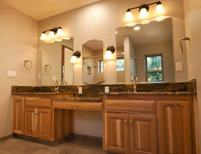 Master Bathroom Vanity His And Her Sinks Hickory