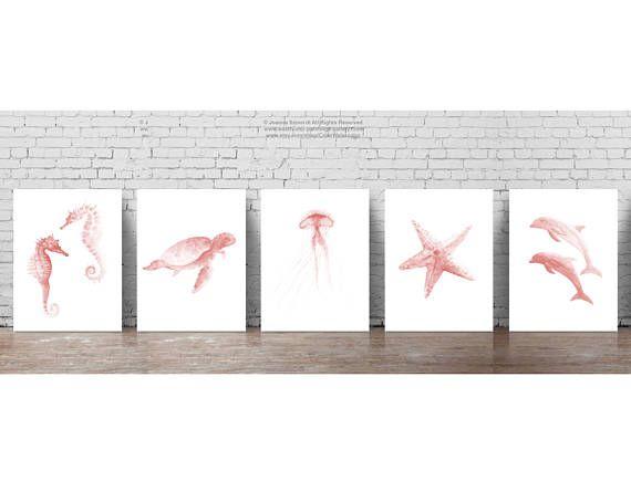 Sea Animals Watercolor Art Print Nursery Kids Room Decoration Pale Pink Wall Decor, Seahorse Turtle Jellyfish Starfish Dolphin Seahorses