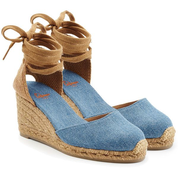 Castañer Espadrille Wedges ($87) ❤ liked on Polyvore featuring shoes, sandals, blue, wedge heel sandals, espadrille wedge sandals, special occasion shoes, castaner espadrilles and blue evening shoes