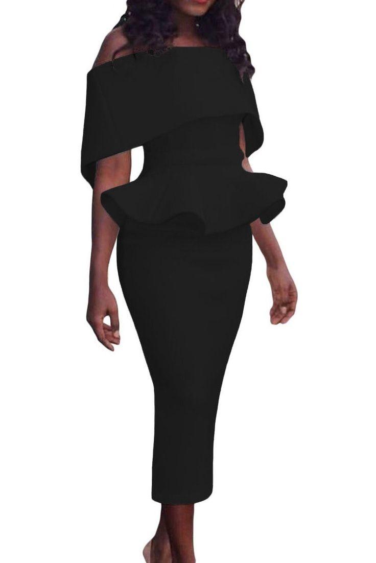 Robe a Volant Noire Mi-longue Col Bateau Pas Cher www.modebuy.com @Modebuy #Modebuy #Noir #me #mode #sexy